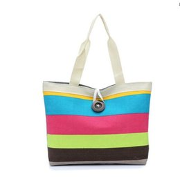 Wholesale Bags Handbags Fashion Colorful Style - Sell at a loss! Summer Style Canvas Women Bag Fashion Colorful Striped Women's Handbags Shoulder Bag Ladies Casual Shopping Bags 6 Colors