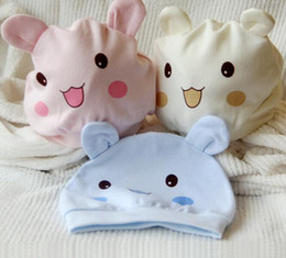 Wholesale Cartoon Lovely Girl - Newborn baby cotton cap infant lovely rabbit sleeping hat boys and girls cartoon caps 3 color leisure Caps