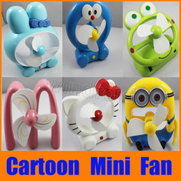 Wholesale Minions Gift Box - Cortoon Cute Portable USB Mini Fan Rechargeable Battery Minions Hello Kitty Doraemon Fans with Retail box Gift For kids Free shipping DHL 10