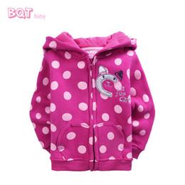 Wholesale Baby Girls Hoodie Zip - Wholesale-NWT 'C is for Cat' Hoodie Emb Applique, Dot Printing Zip Front Sweater Hot Pink Trendy Baby Girls Wear Fleece Hoodie Baby