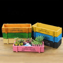 Wholesale Planter Box Gardening - 7pcs set Vintage Natural Wooden Garden Planter Flower Pots Succulent Plants Flowerpot Desktop Storage Box 7 Colors Free Shipping