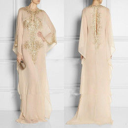 Wholesale Fashion Arabic Clothes - 2018 Cheap Long Arabic Crystal Beaded Islamic Clothing for Women Abaya in Dubai Kaftan Muslim Keyhole Neck Evening Dresses Party Prom Gowns
