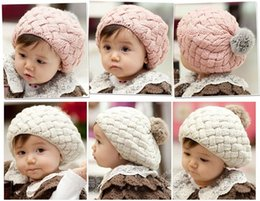 Wholesale Kids Red Beret - Cute Baby Kids Girls Toddler Winter Warm Knitted Crochet Beanie Hat Beret Cap