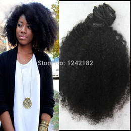 Wholesale Long Curly Weave - Virgin Malaysian Coarse Yaky Clip In Human Hair Extensions Afro Kinky Curly Clip On Hair Extension Long Hai Italian Yaki Weave