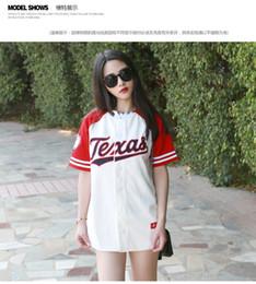 Wholesale Korean Fashion Women Shirts - Wholesale-2016 New Summer Hip Hop Sports Fashion Baseball T shirt Korean style Loose Unisex Mens Womens Tee Tops Tide mujeres camiseta