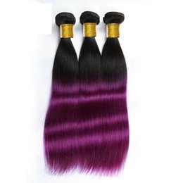 Wholesale Purple Indian Hair Extensions - Ombre human hair weaves Straight hair bundles 1B&Purple two tone color Hair wefts 8~34inch Brazilian Indian no shedding hair extensions
