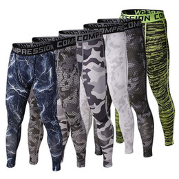 Wholesale Camouflaged Pants Men - Wholesale-Mens Gym Clothing Sports Tights PRO Elastic Basketball Long Leggings Pants Men Compression Camouflage Pants For Men Size S-XL