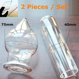 Wholesale Hollow Glass Butt Plug - 2 pieces Large big Pyrex Hollow tube dildo Fake penis Glass butt anal plug Female male adult products Sex toys set for women men