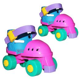 Wholesale Wheeling Shoes For Kids - Wholesale-Children Roller Skates Adjustable Four Wheels Outdoor Skating Shoes For Kids Adjustable Size For 2-7 Years Begginer