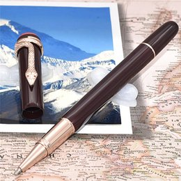 Wholesale Unique Writing Pens - 6 styles luxury Heritage series luxury snake clip with eyes carving Dark red resin roller ball   ballpoint pen with unique snake clip writin