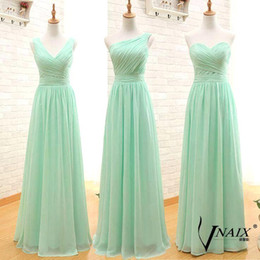 Wholesale Made Order Bridesmaid Dresses - 2016 New Elegant Mint Mix Order Chiffon Bridesmaid Dresses Ruffles Floor Length Cheap Prom Evening Dresses Party Gowns BO9667