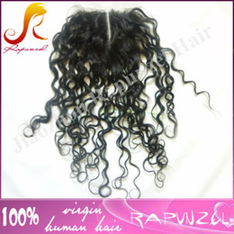 Wholesale Big Knot Tie - Center parting top closure fast shipping cheap 100% virgin brazilian human hair deep curly lace closure bleached knots in stock (4x4)