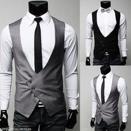 Wholesale Sleeveless Coats For Men - New Fashion men vest casual suit vest Waistcoat tank tops Sleeveless Jacket Coat for men free shipping