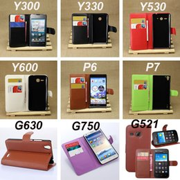 Wholesale Huawei P6 Leather Cover - Wallet PU Flip Leather Case Cover With Card Slots Stand Holder For Huawei Y300 Y330 Y530 Y600 P6 P7 G630 G750 G521 G6 Mate 2 7 Y511 G510