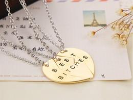 Wholesale Statement Necklace Parts - Statement Necklace Silver Gold Heart 3 2 Parts Pendant Best Bitches Broken Heart Necklace