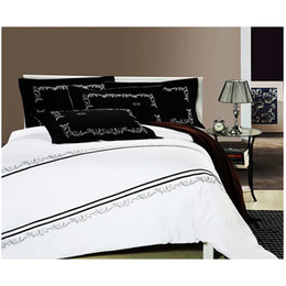 Wholesale Hand Embroidery Bedding Set - Queen King size bedding set 100% combed cotton Black and white 4pcs rank quilt duvet cover pillowcase bedlinen set with embroidery B2177