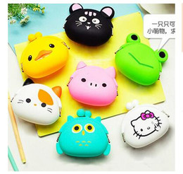 Wholesale Kids Jelly Purses - Coin Purse Lovely Kawaii Candy Color Cartoon Animal Women handbags Girls Wallet Multicolor Jelly Silicone Purse Kid Christmas Gift R1591