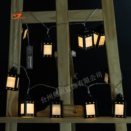 Wholesale Red Lantern Battery - Wholesale- Wholesale Retro Vintage Lantern 10 LED String Lights Holiday Curtain Warm Amber Colorful Lamp House Garden Decor Battery Operate