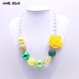 Wholesale Chunky Yellow Beaded Necklace - MSH.SUN Fashion Kids Handmade jewelry Yellow Rose Flower Chunky beads necklace for girls Bubblegum Strand beads necklace BN177