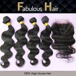 Wholesale Top Hair Hairpieces - 5Pcs Lot Cheap Brazilian Virgin Hair 3 Way Part Lace Top Closure with 4 Bundles Body Wave Unprocessed Hair Weave Extensions Hairpiece