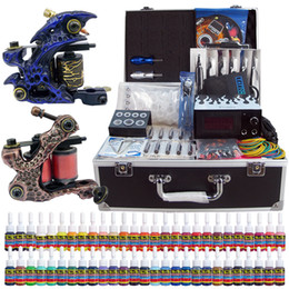 Wholesale Tattoo Machine Carrying Case - Solong Tattoo® Complete Tattoo Kit 2 Pro Machine Guns 54 Inks Power Supply Foot Pedal Needles Grips Tips with carrying Case TK221