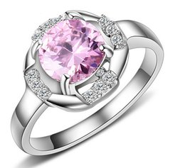 Wholesale Large Crystal Silver Rings - Newest High Quality Silver Stainless Steel Large Shining Pink Crystals Stone Band Ring Women Lady's Fine Gift For Anniversary