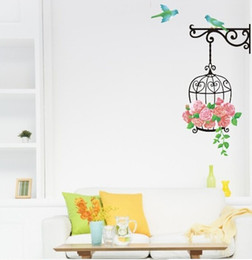 Wholesale Pink Rose Decals - Bird Cage Rose Flowers Blue Bird Wall Decal Sticker Decor Living Room Art Decor Poster Removable PVC Wallpaper