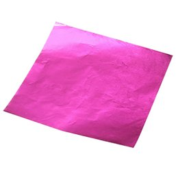 Wholesale Wholesale Candy Paper Wrappers - Wholesale- 100pcs Square Sweets Candy Chocolate Lolly Paper Aluminum Foil Wrappers Pink