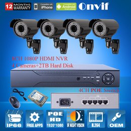 Wholesale H264 Surveillance - Onvif H264 8CH HDMI NVR System 4CH Switch 4pcs 1080P Outdoor Network IP Cameras POE 2MP Surveillance CCTV Cameras System+2TB HDD