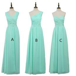 Wholesale Vestido Chiffon Mint - Chiffon Long Bridesmaid Dresses 2018 Mint Green Wedding Guest Dress Pleated Party Dresses Vestido De Madrinha