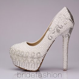 Wholesale Almond Canvas - Tulip pearl wedding shoes shoes shoes high with waterproof shoes Korea princess diamond wedding shoes show shoes