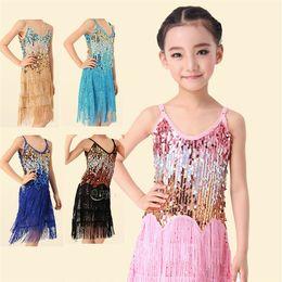 Wholesale Latin Ballroom Dresses For Competition - New 2015 Children Kids Sequin Fringe Stage Performance Competition Ballroom Dance Costumes Latin Dance Dress For Girls