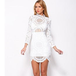 Wholesale Nice Celebrity White Dresses - Hollow Lace Dress Nice White   Black Embroidery Floral Celebrity Bodycon Bandage Dress Long Sleeve Slim Sexy Club Dresses