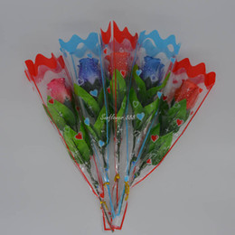 Wholesale Led Roses - Flashing Blinking LED Light Up Rose Flower Valentine's Wedding Party Home Decor Mothers Day Supplies Gift