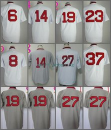 Wholesale Fred Lynn - Throwback Jersey 37 Bill Lee 23 Luis Tiant 19 Fred Lynn 6 Rico Petrocelli 27 Carlton Fisk White White Gray 1975 Stitched