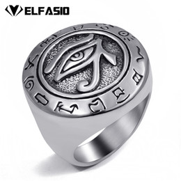 Wholesale mens fashion rings wholesale - Wholesale- Mens Boys Egyptian Eye of Horus Ra Udjat Talisman Silver Gold Stainless Steel Ring Fashion Jewelry Size 7-15