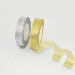Wholesale Valentines Day Movie - Organza Ribbon Sprink Glitter Metallic trimmings decorative ribbons roll for wedding party christmas valentines day craft decoration birthda