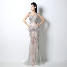 Wholesale Crystal Trumpet Dress Actual Image - 100% Actual Image ZAHY Gown 2015 New Fashion Gorgeous Exquisite Crystal Beaded Scoop Neck Sheath See Through Skirt Prom Party Dresses OG-402