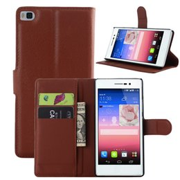 Wholesale Cases For Huawei Ascend - For Huawei Ascend Y540 P8 Lite Mini Litchi skin PU Wallet Card leather case cover stand holder slots cases 50pcs 100pcs 200pcs