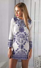 Wholesale Mini Tunic - 2016 New Summer Women Dress Long Sleeve Print Tunic Ladies Casual Dresses White O-neck Vintage Dress Female Vestidos Plus Size
