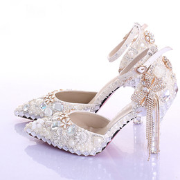 Wholesale dress for parties events - Pointed Toe Ankle Strap Boots Bridal Shoes Ivory Pearl Wedding Party Dress Shoes Rhinestone Pumps for Wedding Events Prom Shoes