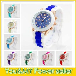 Wholesale Unisex Geneva Silicone - 2016 Rubber Geneva Watch New style silicone jelly candy unisex quartz watches colorful wristwatch 15 colors FREE SHIPPNG