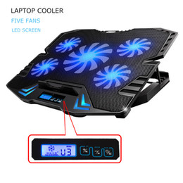 Wholesale Cool Lighting Fixtures - 12-15.6 Inch Laptop Cooling Pad Notebook Cooler USB Fan with 5 cooling Fans Light Notebook Stand and Quiet Fixture MacBook ThinkPad Surface
