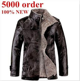 Wholesale Mens Jacket Puff - New Winter Mens Fur Stand Collar Thickening&Wool Windbreak Waterproof Leather Jackets Men's Lether Coat Asian Size M-3XL free shipping