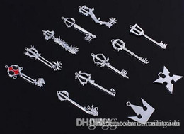 Wholesale Kingdom Hearts Keyblade Wholesaler - Wholesale-12pcs Set Kingdom Hearts II KEY BLADE Necklace Pendant+Keyblade+Keychain Different Style Silver Key Blade Sora Keyblade Pendant B1