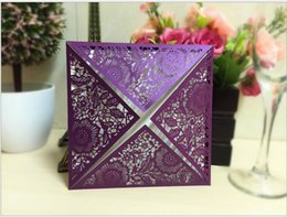 Wholesale Laser Cutting Patterns - Wholesale- purple laser cut Wedding Invitation Card Romantic Cards Envelope Delicate Carved Pattern Wedding Invitations Party Supplies