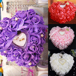 Wholesale Bridal Ring Pillows - 2015 Flower Ring Pillows Colors Bridal Accessories Wedding Supplies 26*26*13 CM Hand Made Flowers Wedding Accessories Dhyz 01
