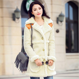 Wholesale Lambs Wool Womens Jackets - Women Winter Lamb Fur Jacket Coats 2015 New Fashion Lamb's Wool Suede Motorcycle Womens Clothing Long Thick Female Cotton Jacket Fur Coat