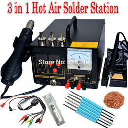 Wholesale Upgrade Power Supply - 220V 3 in 1 Hot Air Rework Solder Station Hot air gun soldering station+Soldering iron + Power Supply 909D Upgrade Edition order<$18no track