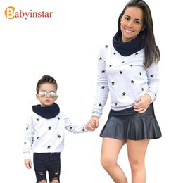 Wholesale Mommy Son Matching Outfits - Babyinstar Mother and Daughter Son Clothes Star Print Sweatshirts Family Look Autumn Mommy and Me Clothe Family Matching Outfits